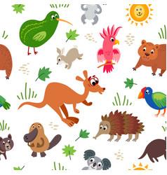 Wild australia animals seamless pattern in flat vector