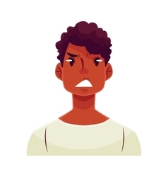 Young african man face upset confused facial vector image