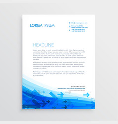 blue letterhead design template with arrows vector image vector image