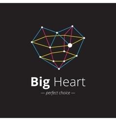 creative heart shape logo Crystal heart vector image vector image