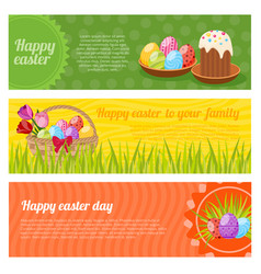 happy easter horizontal banners set vector image vector image