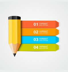 infographics education pencil with data vector image vector image