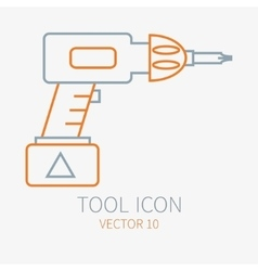 Line working color electric screwdriver vector