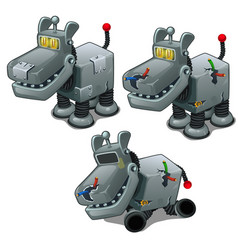 set of iron dogs cyborgs isolated vector image vector image