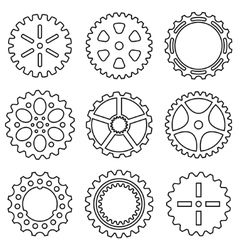 Silhouette of mechanical Cogs and Gear Wheel Set vector image