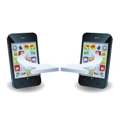 smartphones communicating vector image
