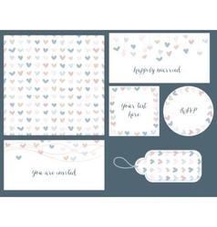 Wedding set hearts design seamless pattern tags vector image vector image