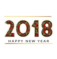 2018 happy new year gold numbers design of vector image vector image