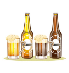 bottle of beer with a glass vector image vector image