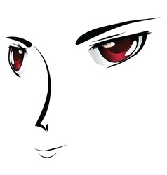 Cartoon face with red eyes vector image vector image