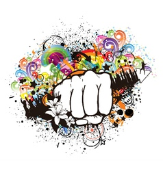 fist with floral vector image vector image