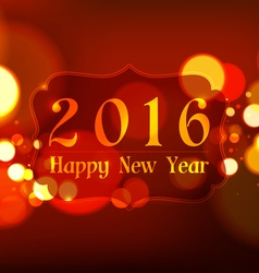 Happy New Year 2016 on Bokeh Light Red Background vector image