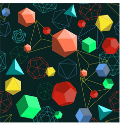 platonic solids shapes and lines abstract 3d vector image