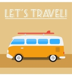 Retro travel-bus with surf board vector image vector image