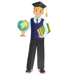 Schoolboy with globe and books eps10 vector image vector image