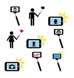 selfie stick with mobile or cell phone icons set vector image