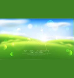 abstract background with blur green grass sky vector image vector image