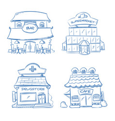 doodle building facade of shop bar cafe mall vector image