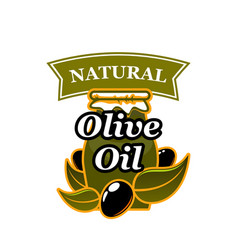 Natural olive oil and olives icon vector