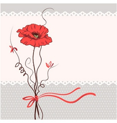 red poppy floral card background vector image