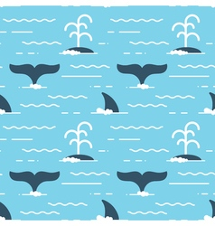 seamless pattern with whale fins over the water vector image