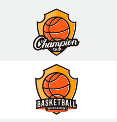 set of basketball logo label badge emblem vector image