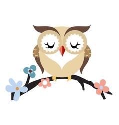 Cartoon owl on a flowering tree branch vector