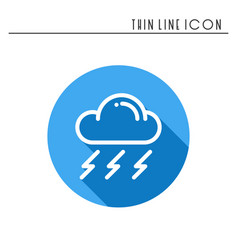 cloud sky rain storm line simple icon weather vector image