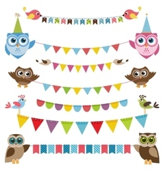Garland and bunting set with birds vector image
