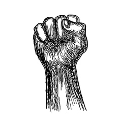 handdrawn of fist stylized revolution concept vector image