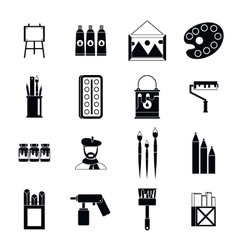 Painting icons set simple style vector image vector image