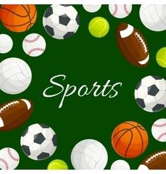 Sports gaming balls poster vector image