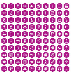 100 beauty and makeup icons hexagon violet vector