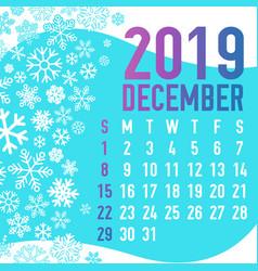 2019 winter months calendar template vector image