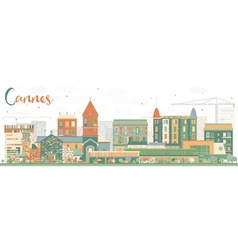 Abstract cannes skyline with color buildings vector
