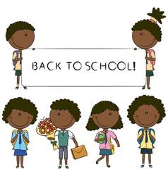 African-American school kids vector image