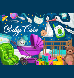 baby care children toys and flying stork vector image