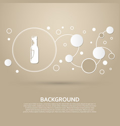 beer bottle icon on a brown background with vector image