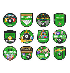 Billiards or pool sport icons cues balls tables vector