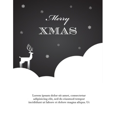 Black and white of Christmas deer vector