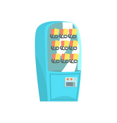 Blue vending machine automatic seller cartoon vector