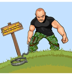 cartoon angry man with a trap near a signboard vector image