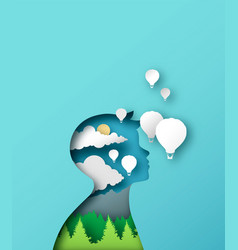 Child imagination concept papercut boy vector