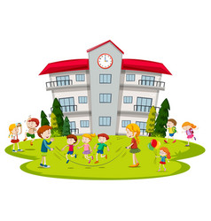 children playing at school vector image