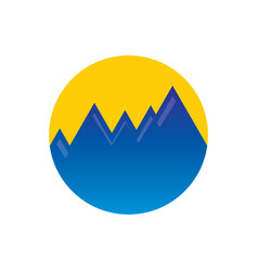 circle mountain hiking logo vector image