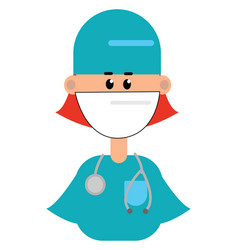 Clipart a female doctor in her blue uniform or vector