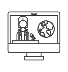 computer with news journalist vector image