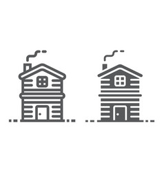 cottage line and glyph icon real estate vector image