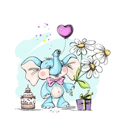 cute and funny baelephant with gifts vector image