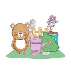 cute little bear in the garden vector image